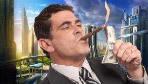 Мужчина с сигарой на другом фоне