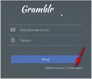Форма для входа в приложение gramblr