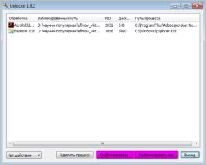 Окно программы Unlocker