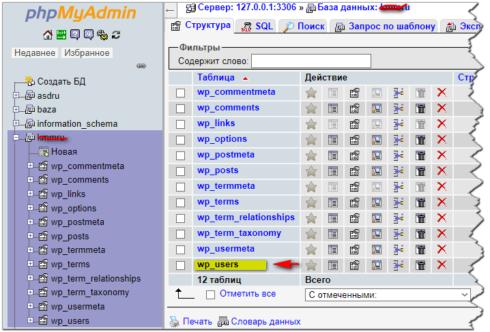 Раздел phpmyadmin